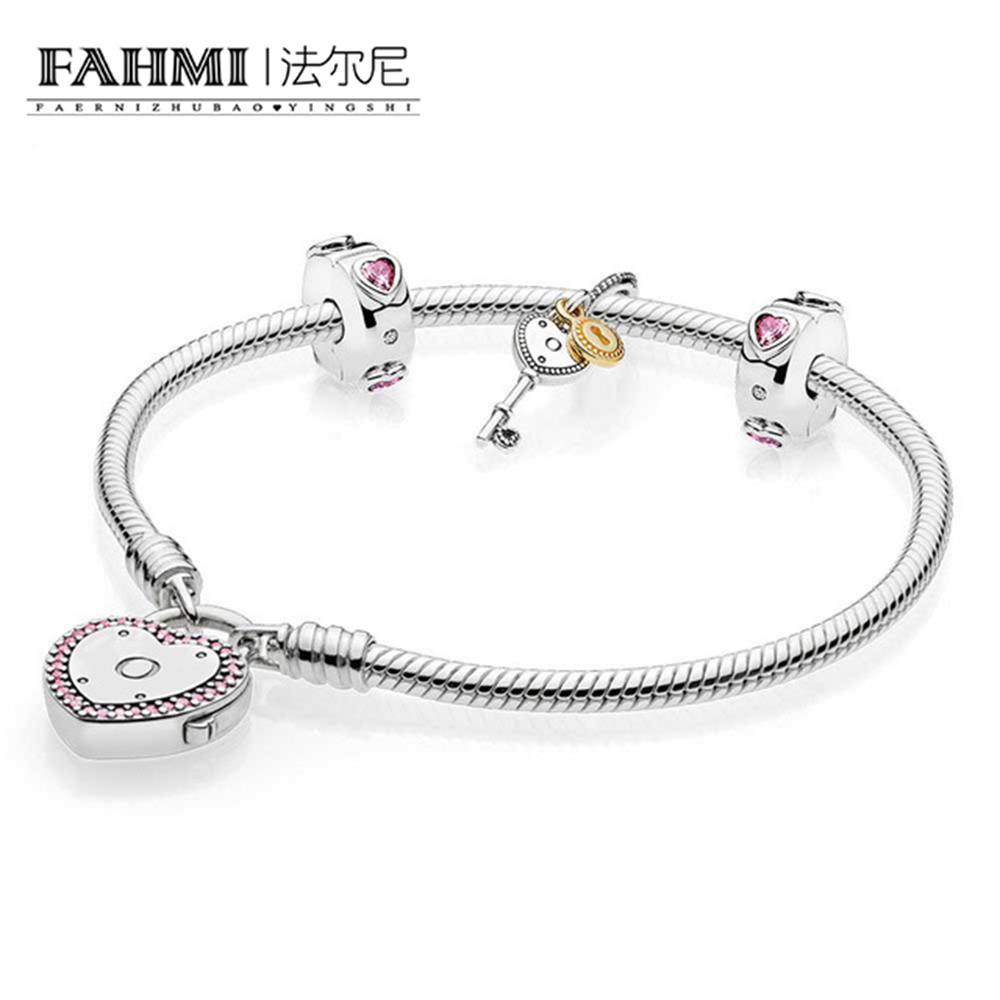 FAHMI 100% 925 Silver 1:1 Genuine Charm Pink Key Heart Valentine Bracelet Set Elegant Charm Gift 0