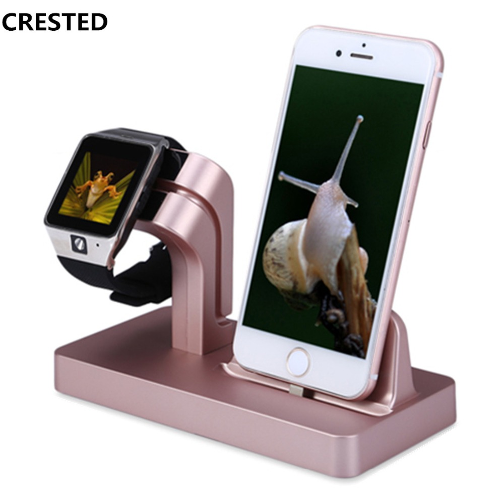 CRESTED Charging Dock Stand Holder For Apple watch 4/3/2/1 42mm 38mm IPhone X 87 7/8 Plus 6S 6 Plus 6S 5S 2 in 1 charger station crested charger for apple watch band iwatch series 4 3 2 1 qi wireless iphone x 8 plus samsung 10w fast charging dock station