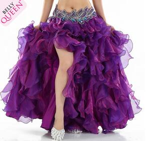 1pcs/lot free shipping Belly Dance Costume Waves Skirt candy color color belly dancing long skirt solid lady skirt free size