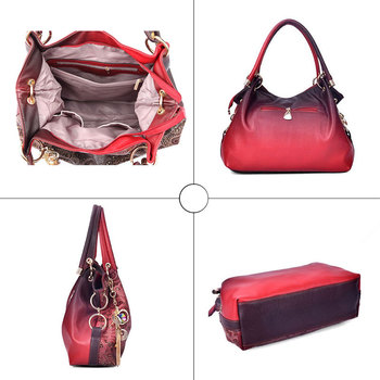 Top-handle Bags for Women Hollow Out Ombre Handbag Floral Print Shoulder Bag 6