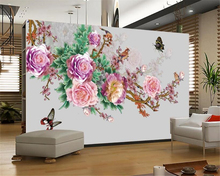 beibehang wallpaper for walls 3 d High-definition fashion ultra-silky wall paper peony plum Chinese TV background behang