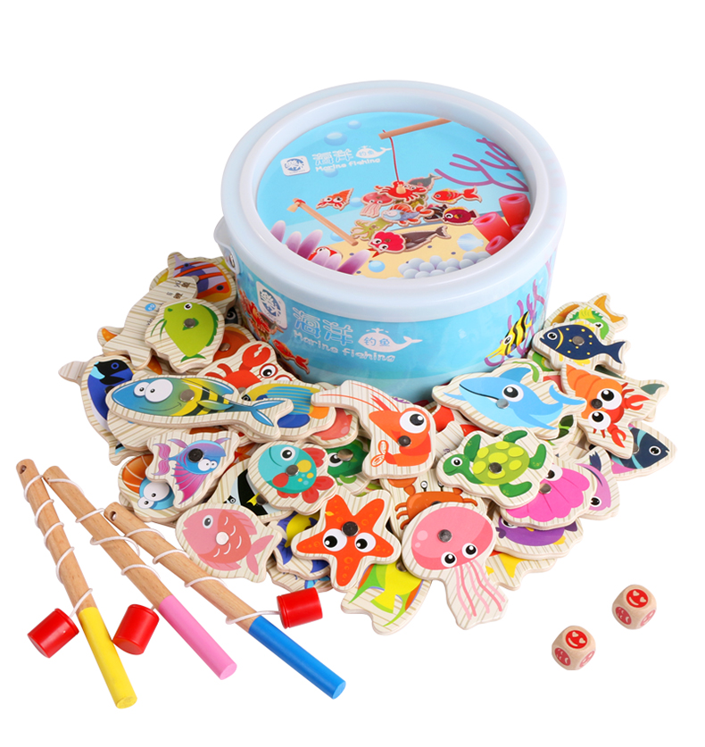 32pcs Set Magnetic Fishing Toy Game Kids Wood Rod Fish Baby Educational Outdoor Fun Non-electric Multicolor Outdoor Fun & Sports