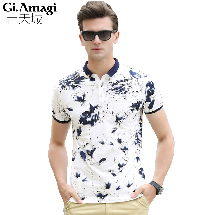 New 2016 brand polo shirt men cotton fashion printing for Polo shirts for printing