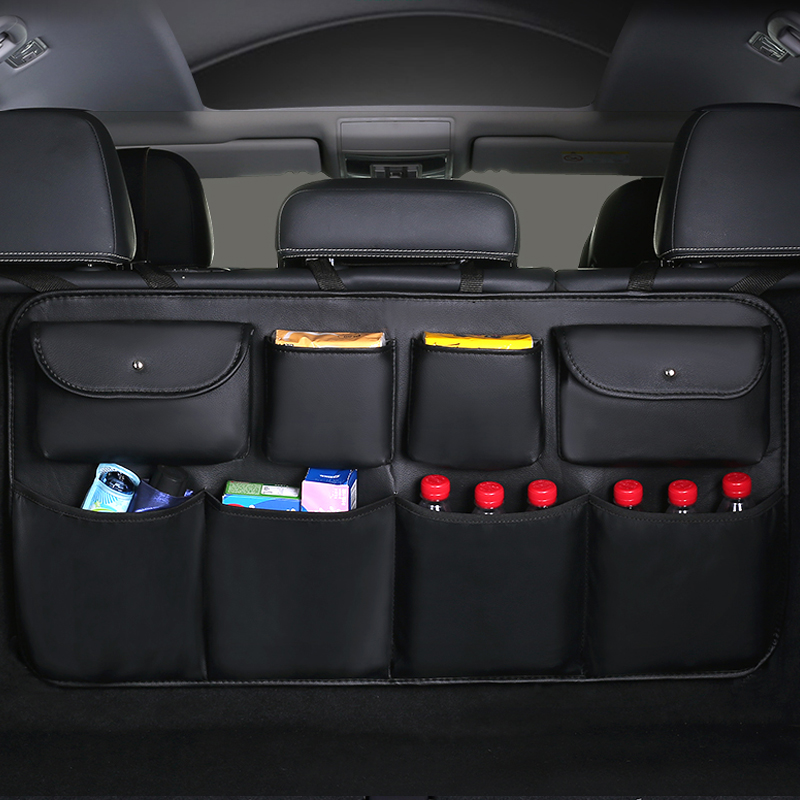 High quality leather Car Rear Seat Back Storage Bag Multi Pocket Car Trunk Organizer Auto Stowing Tidying Interior Accessories(China)