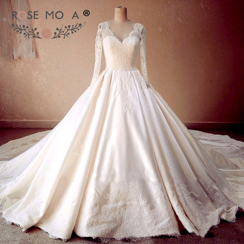 Vintage Three Quarter Length Wedding Dresses: Rose Moda Luxury Satin Wedding Dress 2019 Vintage Three