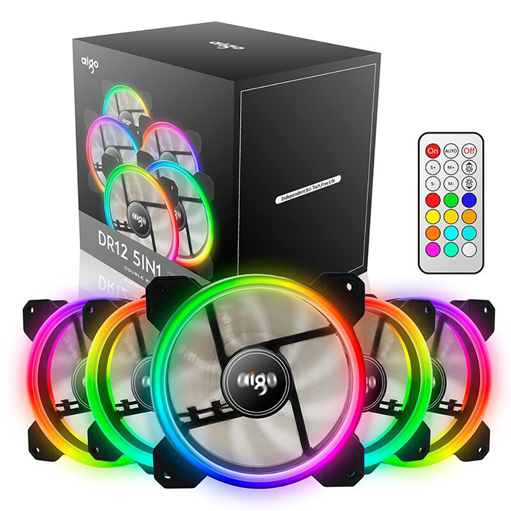 5 pcs Aigo DR12 RGB Adjust LED Computer Case Fan 120mm PC Fans Cooling High Airflow Quiet Fan PC Case Cooler with IR Remote aigo jesm j3 3pcs computer case pc cooling fan rgb adjust led 120mm quiet ir remote new computer cooler cooling rgb case fans