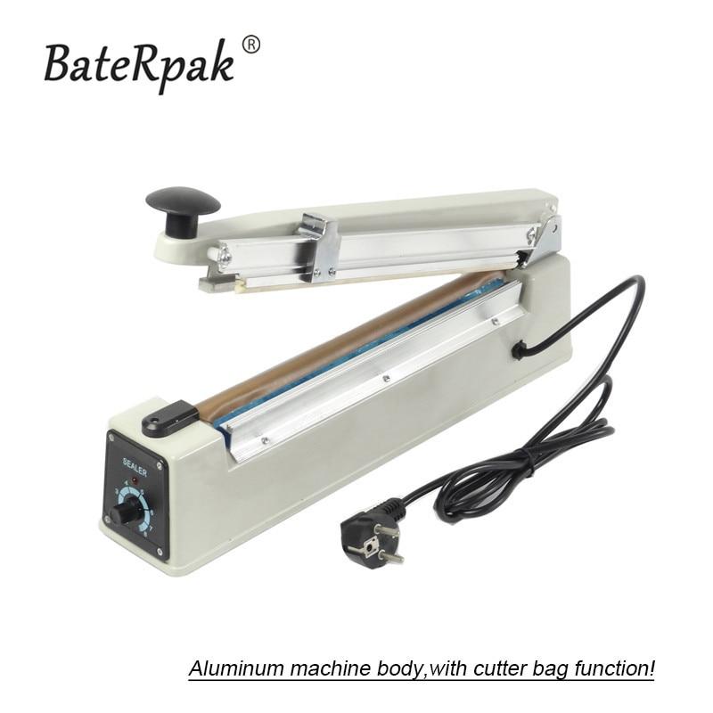 BateRpak PFS-300 Sigillante per buste in alluminio PP / PE sigillante a mano con corpo in alluminio, con funzione di taglio, larghezza di tenuta 2mm, 220V / 50Hz