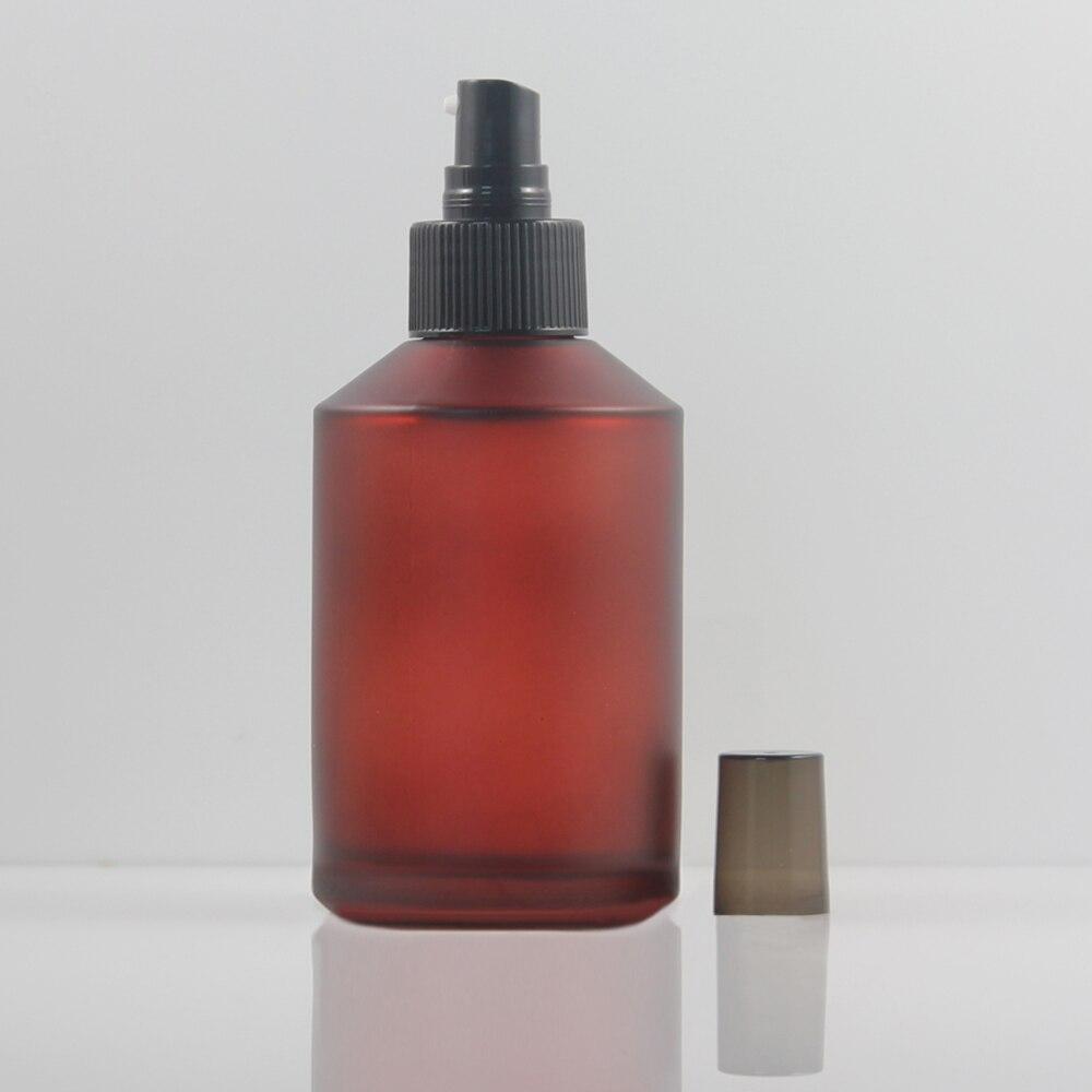 20 pcs 200 ml fosco garrafa de locao de vidro com bomba de aluminio preto vermelho
