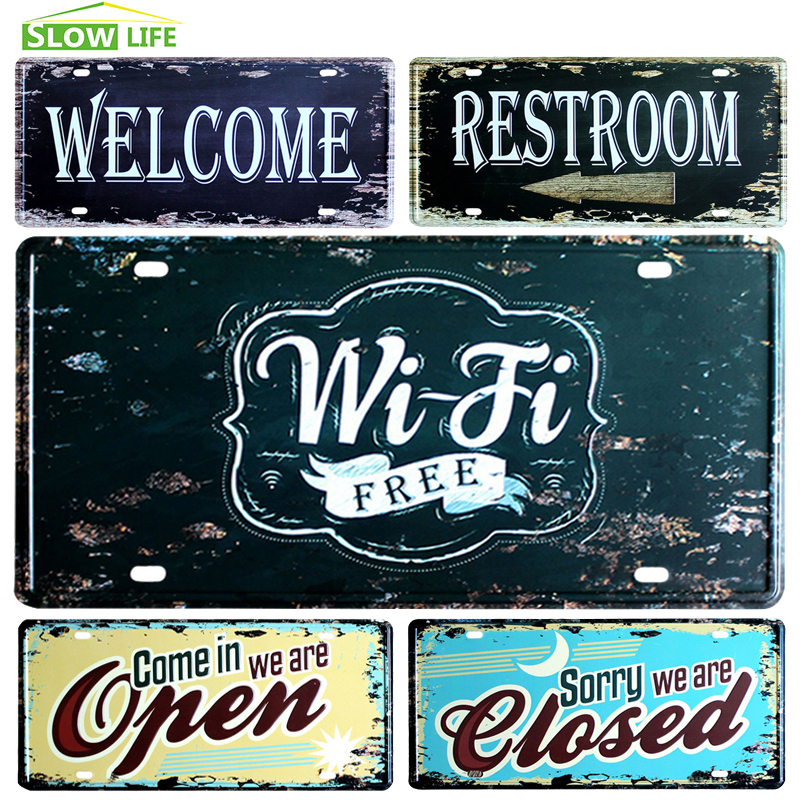 Wi-Fi Free Car License Metal Plate Vintage Home Decor Tin Sign BarPubHotel Decorative Metal Sign Art Painting Metal Plaque