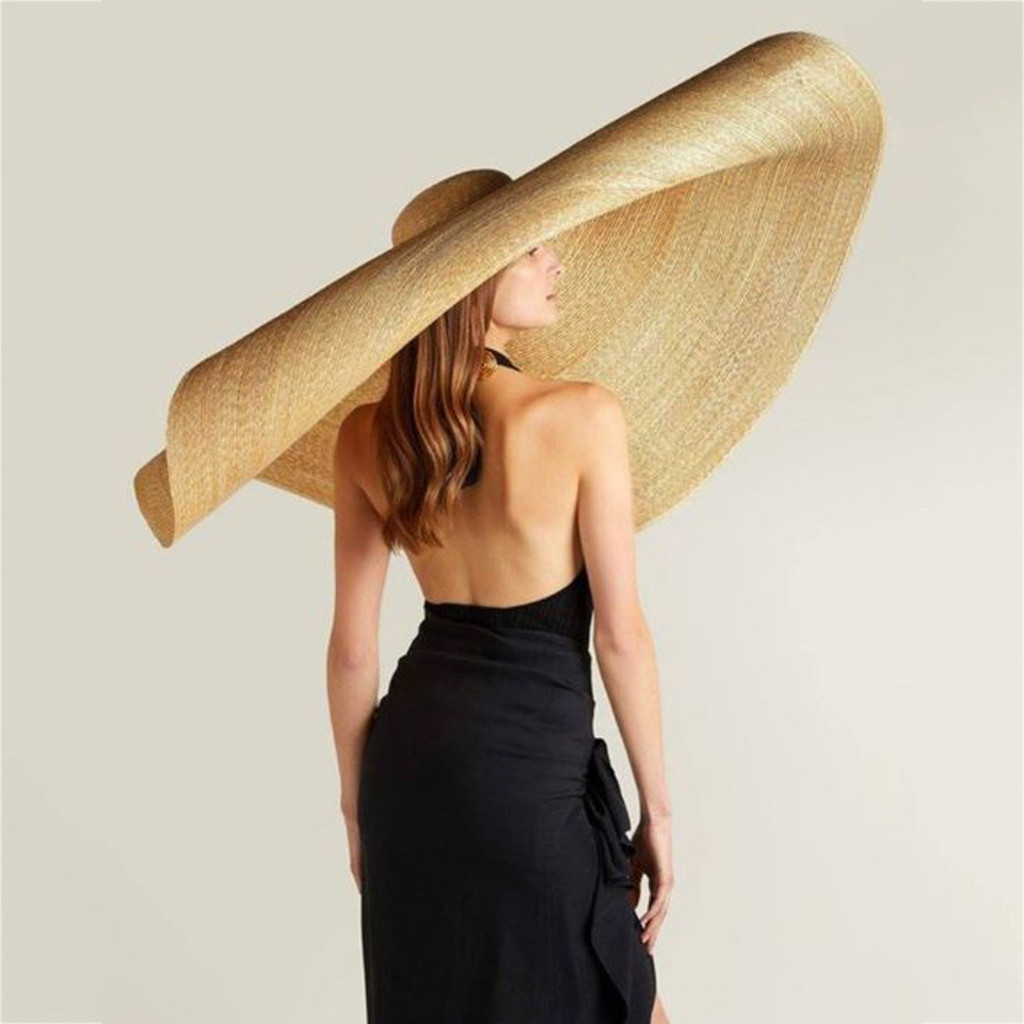 6a30eb27 Woman Fashion Large Sun Hat Beach Anti UV Sun Protection Foldable Straw Cap  Cover Oversized collapsible sunshade beach straw hat-in Women's Sun Hats  from ...