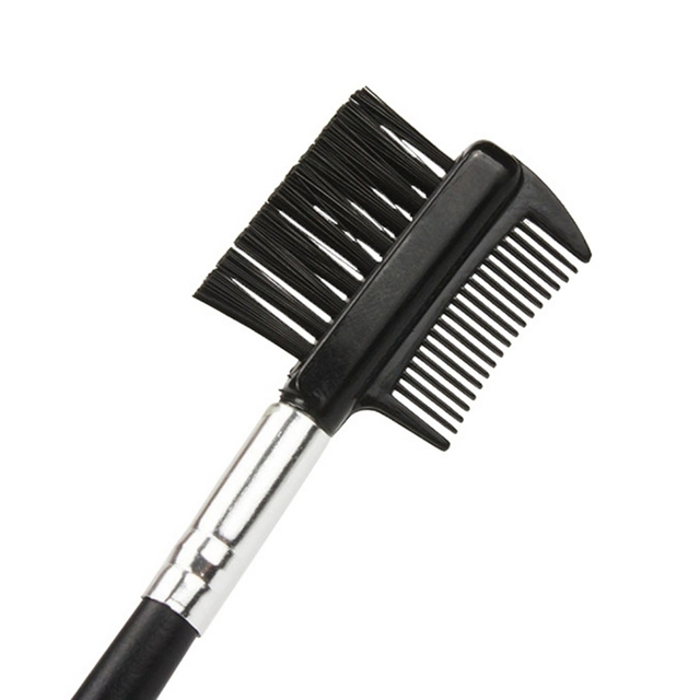 Pestañas extensión peine Acero inoxidable ceja doble cepillo peine Metal maquillaje herramientas ojos belleza Q1
