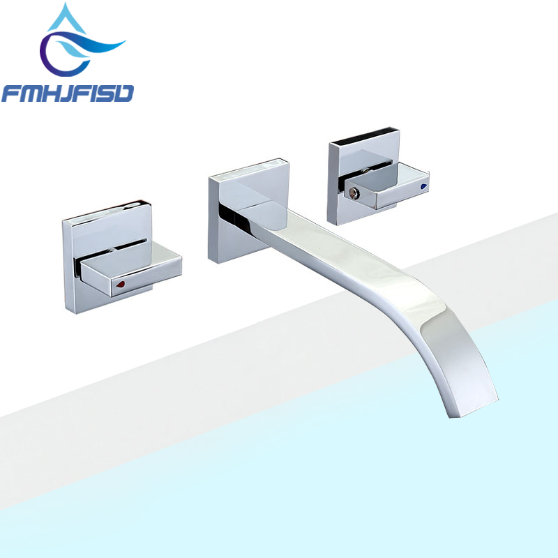 Wall mounted Double Handle Mixer Tap Bathroom Basin Sink Faucet Waterfall Vessel Faucet Taps free shipping gold clour wall mounted vessel sink faucet basin waterfall faucet