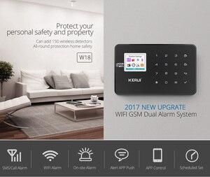 Image 2 - KERUI W18 أسود اللون العقلية التحكم عن بعد لاسلكية Wifi GSM إنذار المنزل APP LCD GSM SMS جهاز إنذار ضد السرقة نظام