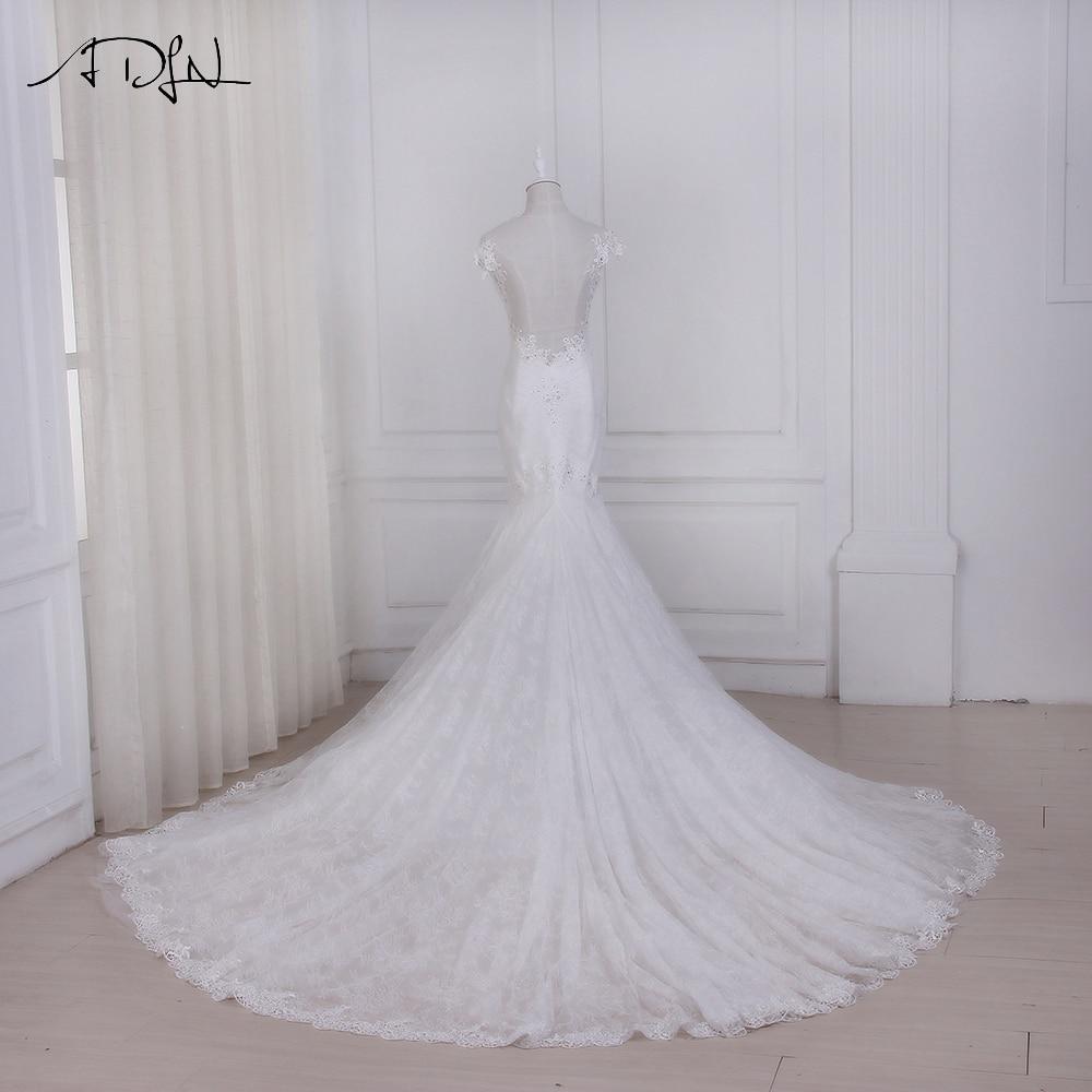 ADLN 2017 Mermaid Wedding Dresses Vestido De Noiva New Arrival Cap Sleeve Beaded Sequins Lace Wedding Gowns Court Train