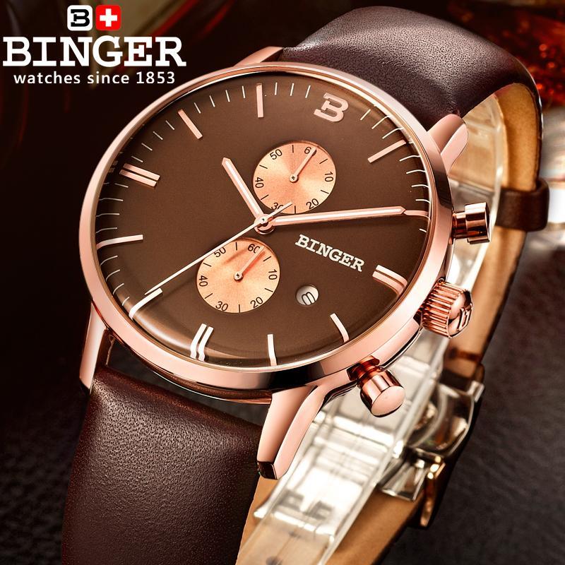 Szwajcaria zegarki luksusowe marki zegarki na rękę BINGER Zegarek - Męskie zegarki - Zdjęcie 5