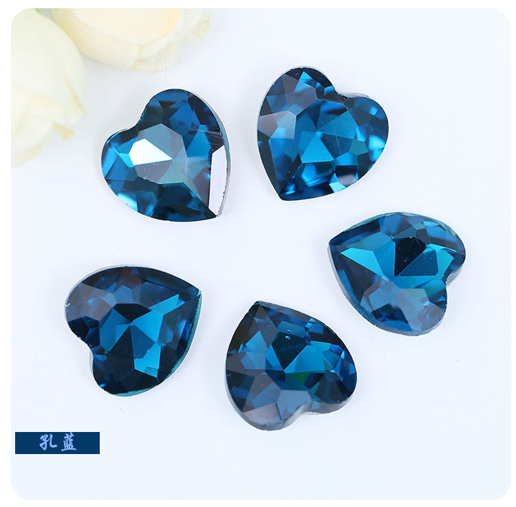 Peacock blue heart-shaped Pointed bottom glass crystal rhinestones apply to DIY Watch and Wedding dress Decoration 20pcs/pack