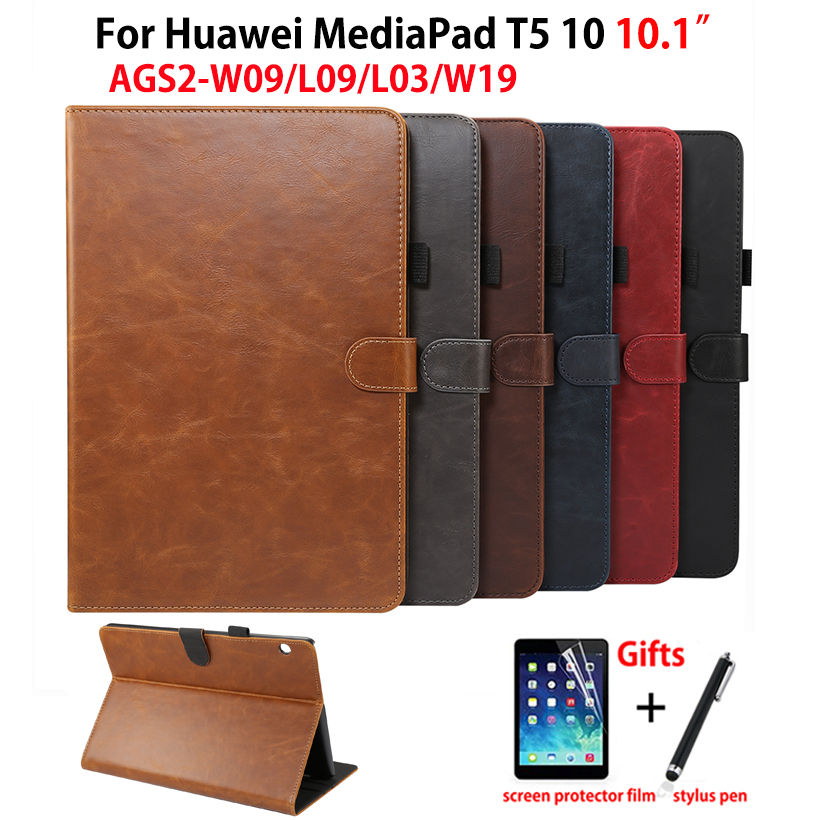 "Luxury Case For Huawei MediaPad T5 10 AGS2-W09/L09/L03/W19 10.1"" Cover Funda Tablet PU Leather Stand Shell Capa +Film+Pen"