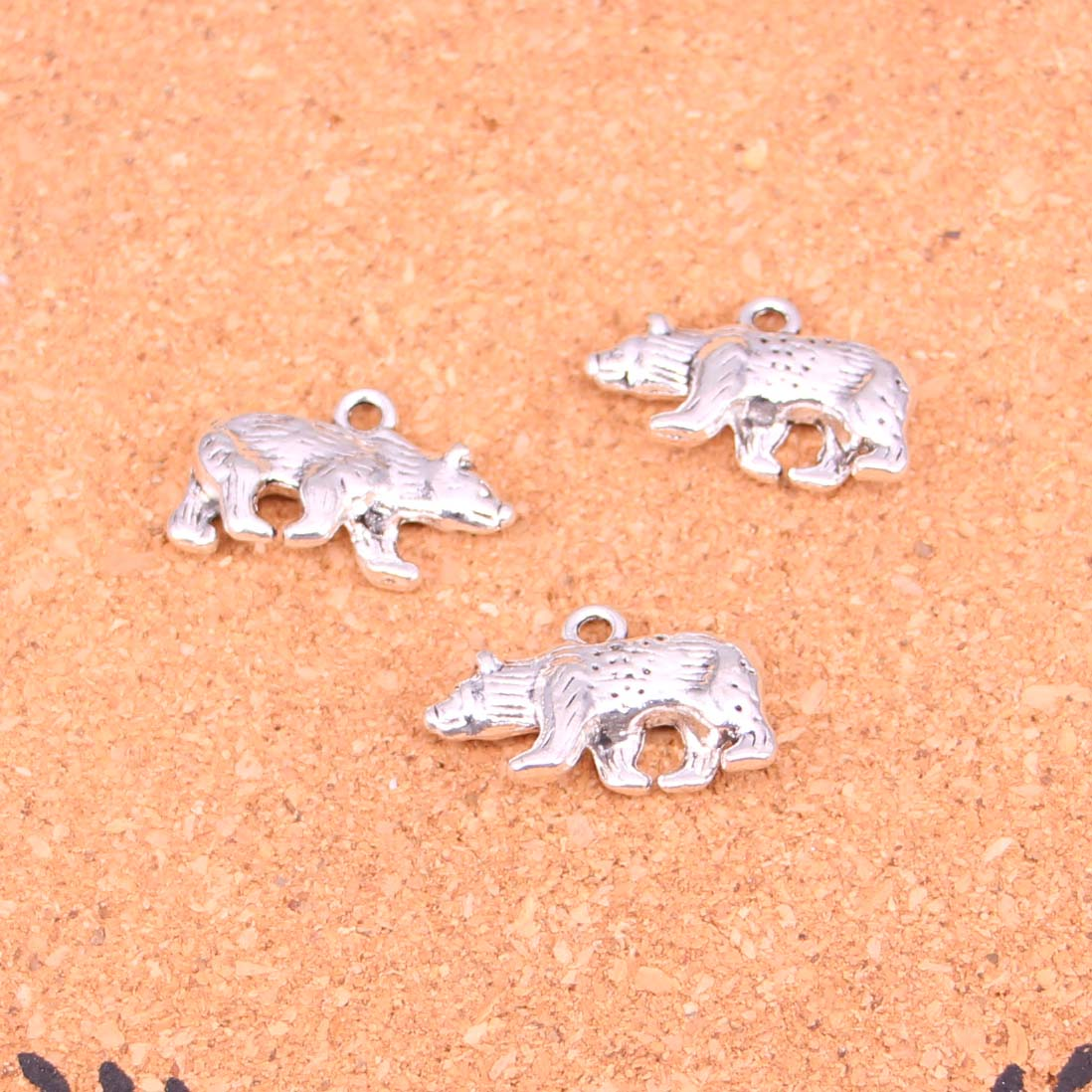 34Pcs Antique Silver Plated bear california state flag Charms Diy Handmade Jewelry Findings Accessories 24*15mm