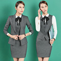 Long Sleeve Elegant Grey Blazers Suits With Jackets And Skirt Formal Uniform Styles Ladies Office Business Work Wear Blazers Set