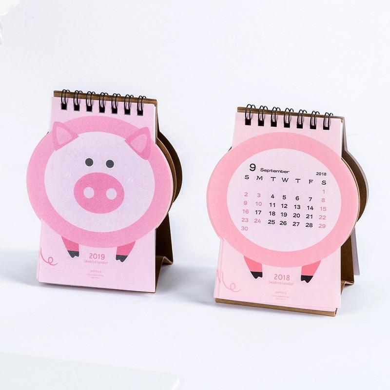 2019 Cute Cartoon Pink Piggy Desk Calendar Diy Mini Table Calendars Daily Schedule Planner 2018.09~2019.12 Demand Exceeding Supply Office & School Supplies Calendar