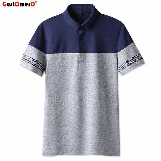 Shirt Casual Patchwork Korte Mannen Gustomerd Zomer Heren Polo Mouw shQCrdt