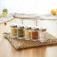 kitchen accessories spice storage glass bottles set with holder,seasoning/salt/sugar/chili bbq jars with rack