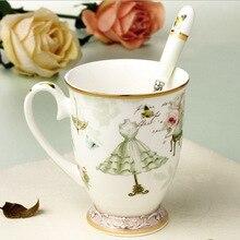 Keramik Tasse Fashion Elegante Muster Design Kaffeetasse Milch Frühstückstasse Für Mädchen Nettes Geschenk Porzellan Tee Tassen Mit Löffel