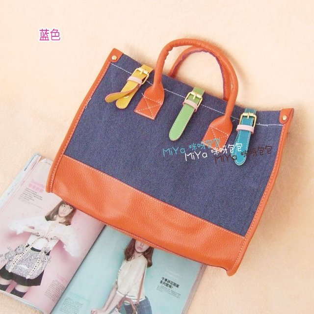 Women bags 2012 new design buckle decor multi-colored canvas tote handbag crossbody bag Wholesale welcomed