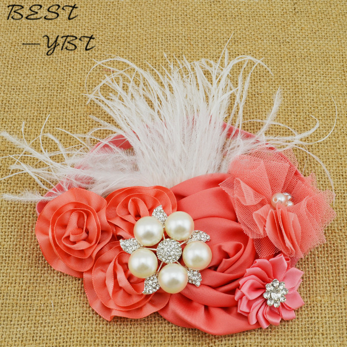MOQ 1pcs Satin Rosettes Flower Headband Pink Tulle Flower Feather Headband Infant Baby Girls Children Hair Accessories shanfu women zebra stripe sinamay fascinator feather headband fashion lady hair accessories blue sfc12441