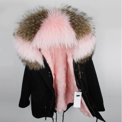 2018 parka hiver veste femmes parka réel fourrure manteau grand naturel raton laveur col en fourrure de lapin à capuche parkas chaud épais taille S M L