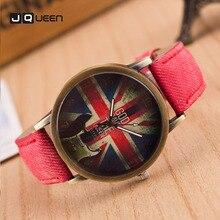 Watch Males Ladies Retro Cowboy Leather-based Digital Spherical Quartz Wristwatch Lovers Couple's Denim Relogio Masculino
