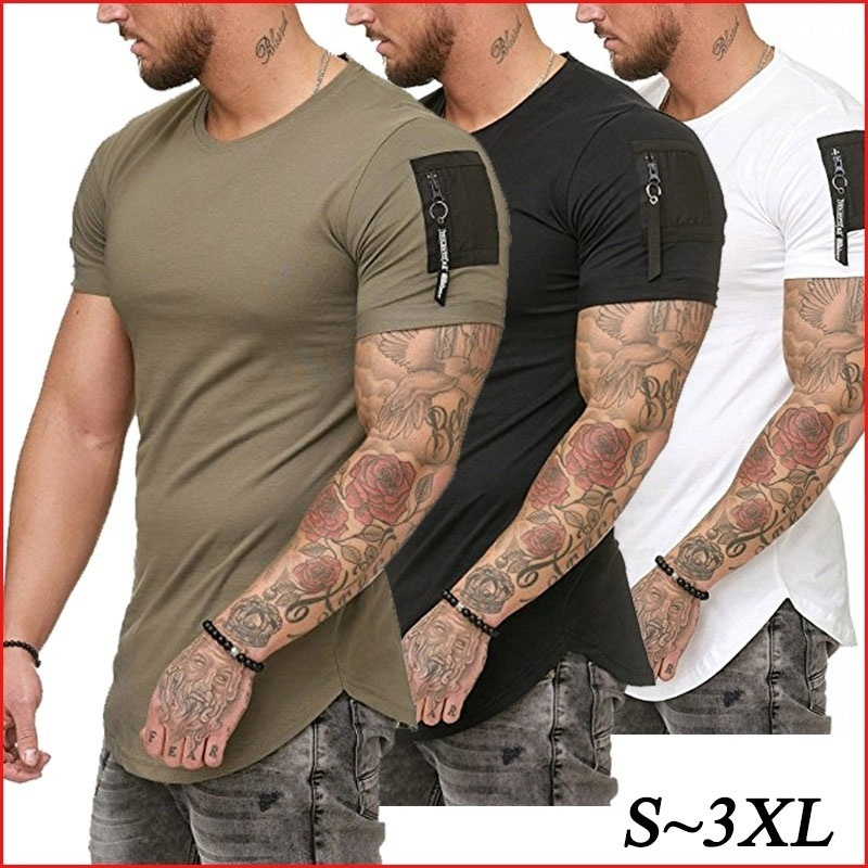 Mens Fashion Solid Color Fitness Tops Short Sleeve Casual Cotton Tee T shirts