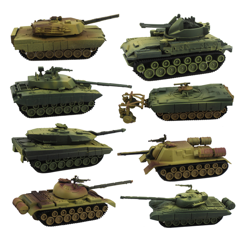 Free Shipping 8pcs 1:72 Tank Model Assembly Toy Main Battle Tanks Puzzle Figure Models Doll Toys Boy Gift (8pcs per Set)