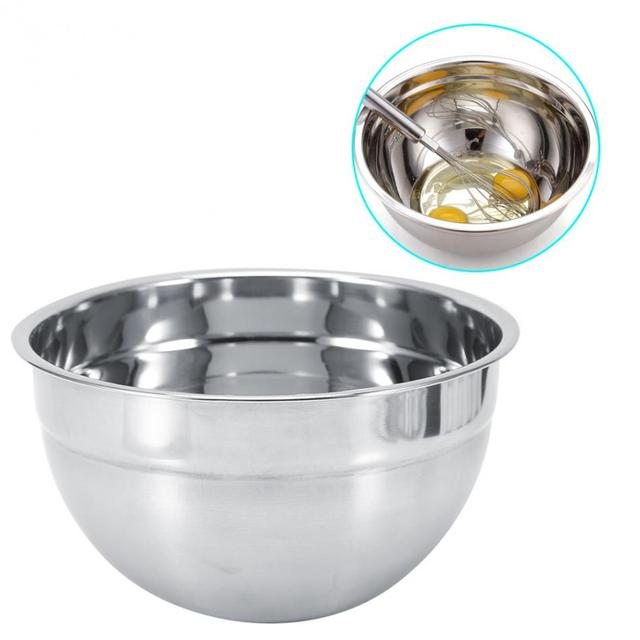 Stainless Steel Thicker Mixing Bowl Bottom Prevent Splash Egg Beating Pan/ Mixing Bowl5 Sizes Salad
