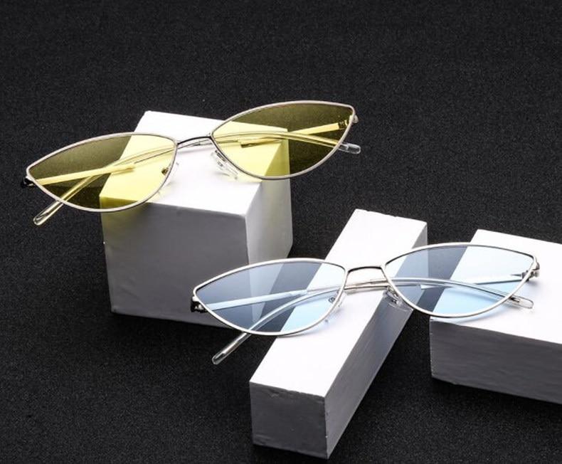 REALSTAR Métal De Luxe Tendance lunettes de Soleil Hommes Femmes Nuances  Petit Cat Eye Vintage Marque Lunettes Mode Femme Homme Oculos S446 d88c71bd5b3d