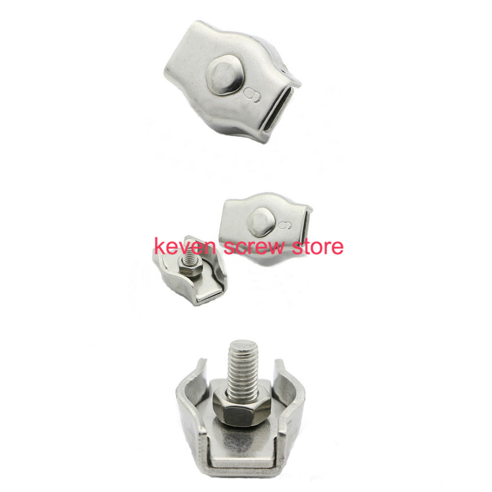 10Pcs Clip 304 Stainless Steel Wire Rope Simple Grip M2//M3 Cable Clamps Caliper
