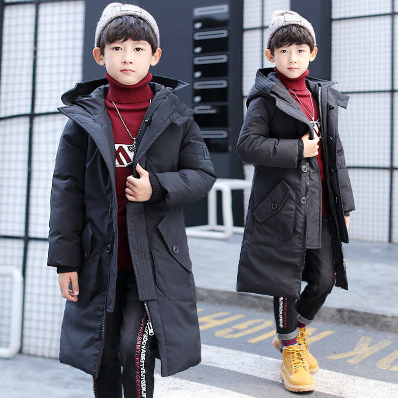 FYH Kids Clothes Winter Boys Hooded Long Parkas Solid Color Children Thicken Cotton Padded Coat School Children Outerwear Jacket 2017 new fashion women long coat cotton padded clothes thicken winter female parkas lamb wool hooded drawstring jacket plus size page 8