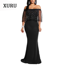 XURU Off The Shoulder Sexy Mermaid Derss Women Slash Neck Mesh Beading Black Long Maxi Dresses Elegant Evening Party Dress XXXXL