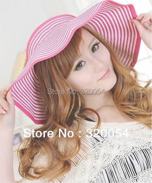 1 Pcs 2017 New bowknot sun hat women's folding straw caps summer multicolor