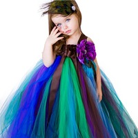Baby Girl Clothes Kids Flower Peacock Feather Tutu Dress Vestido for Child Christmas Carnival Peacock Gauze Dress with Headband