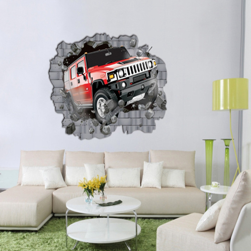 Home Decor Large Suv Car Vecihle Wall Stickers Decal Huge 100cm X 70cm Sheet Boys Bedroom