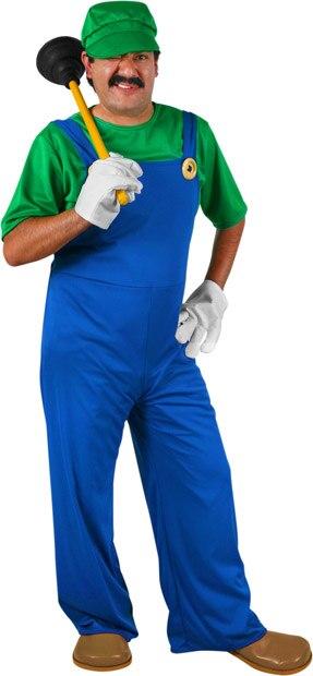 Luigi from Super Mario Brothers Mens Adult Costume 5PC Set