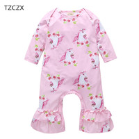 TZCZX 2520 New Spring Children Baby Girls Rompers Novelty Cartoon Printed Jumpsuit For 6 24 Month