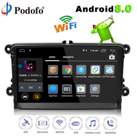 Podofo Two Din Car Multimedia Player Android 8.0 Auto Radio for Skoda/Seat/Volkswagen/VW/Passat/POLO/GOLF/Sharan/MK5/MK6 DVD GPS
