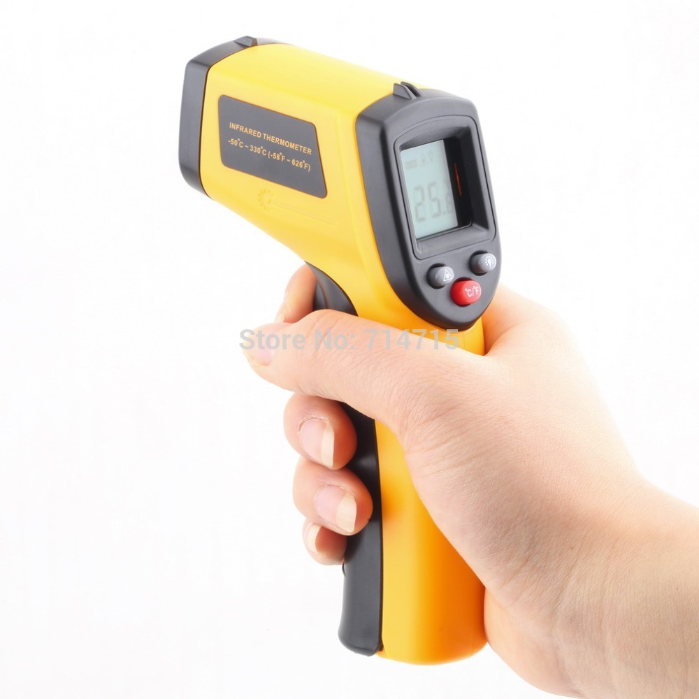 1 Pcs GM320 Laser LCD Digital IR Infrared Thermometer Temperature Meter Gun Point -50~330 Degree Non-Contact Thermometer an550 laser lcd digital ir infrared thermometer temperature meter gun 50 500c 58 1022f non contact temperature meter gun