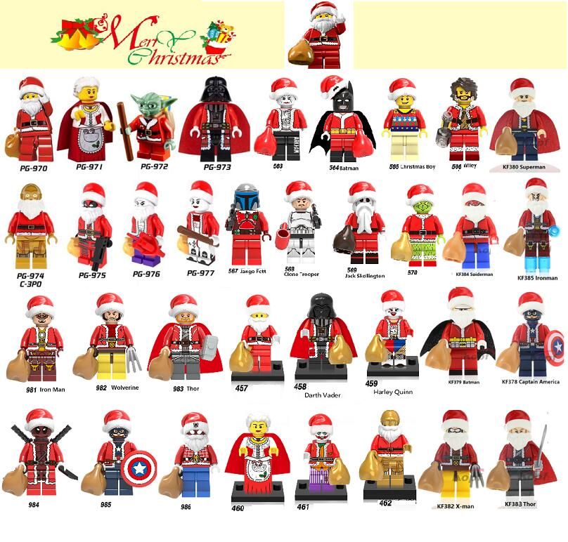 Single Sale Christmas Series Super Heroes Wiley Jango Fett Clone Trooper Wolverine Building Blocks Figures Toy Gift Children