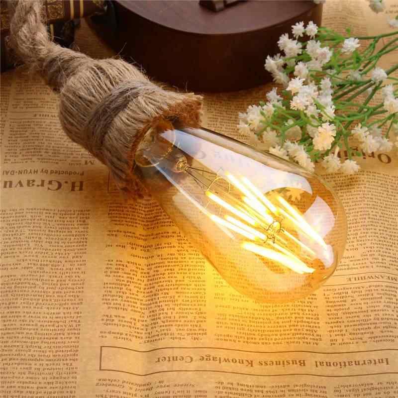 Ретро Винтаж веревка подвесной светильник лампа Лофт промышленный Одноместный/двойной головкой E27 подвесной светильник лампа Эдисона лампа для гостиной