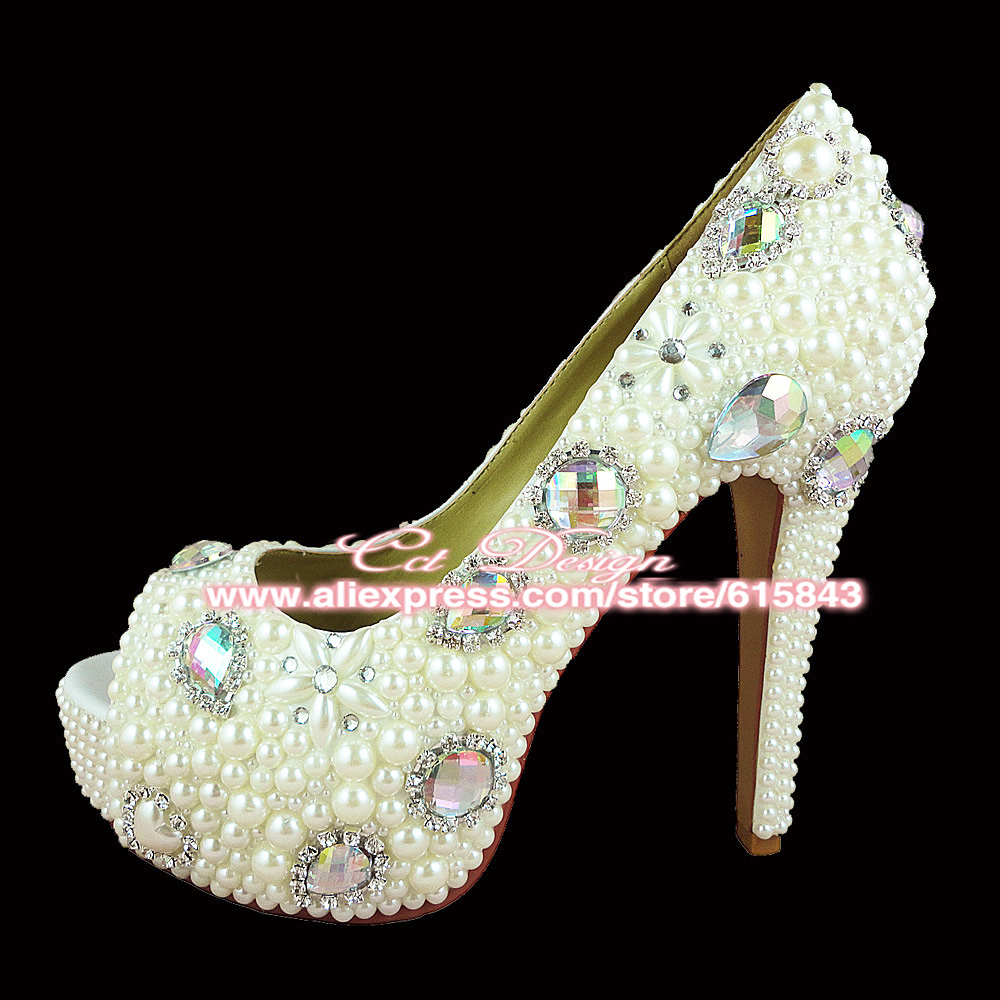 46bfe45536c9 100% Handmade Women Shoes Peep Toe Crystal And Pearls White Wedding Shoes  Fashion Glitter High Heels Platform Bridal Party Pumps