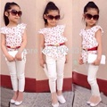 DT0229 Girl sets for summer children's clothing fashion summer female baby beautiful sets cotton floral shirt / blouse + pants