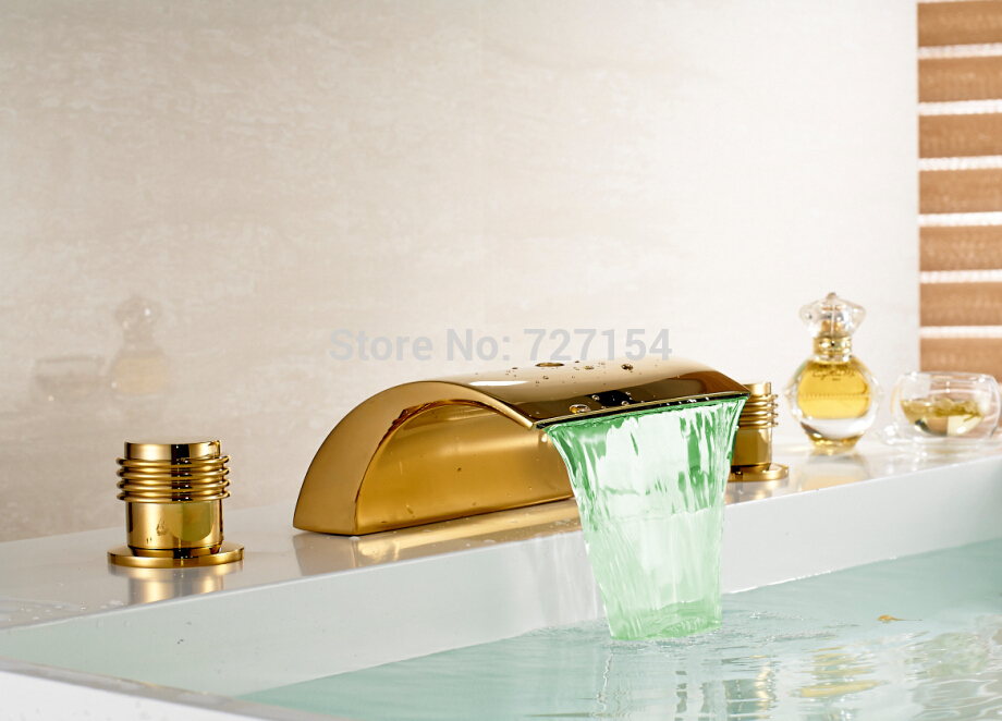 Free Shipping! Deck Mounted LED Golden Basin Faucet Waterfall Spout Sink Mixer Tap Dual Handles